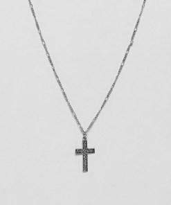 ASOS DESIGN - Silber polierte Halskette mit geprägtem Kreuzdesign - Silber