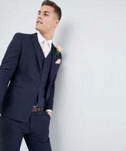 ASOS DESIGN Wedding - Enge marineblaue Anzugjacke mit eckigem Saum - Navy