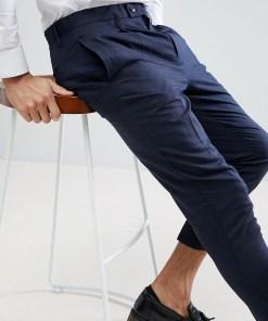 Gianni Feraud - Kurz geschnittene Leinenhose mit Plissee - Navy
