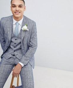 Moss London - Wedding - Enge Anzugjacke mit gesprenkeltem Karomuster - Blau