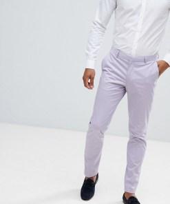 ASOS DESIGN Wedding - Enge Anzughose aus Stretch-Baumwolle in Lila - Violett