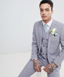 ASOS DESIGN Wedding - Schmal geschnittene Anzugjacke in Mittelgrau mit Kreuzschraffurmuster und bedrucktem Futter - Grau