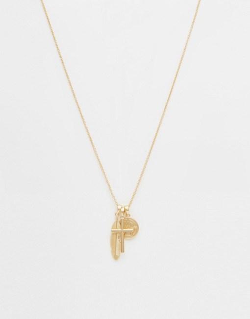 Chained & Able - Goldene Halskette mit Kreuzanhänger - Gold