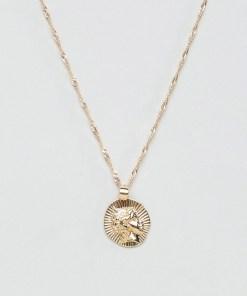 ASOS DESIGN - Goldene Halskette mit römischem Medaillonanhänger - Gold