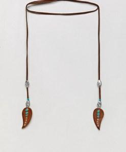 ASOS DESIGN - Wickelbare Leder-Bolo-Halskette mit Federn - Braun