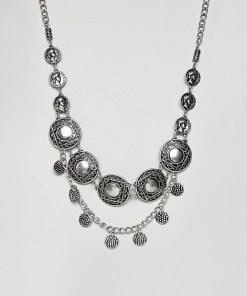 ASOS DESIGN - Festival-Statement-Halskette mit Münzdesign in Silber poliert - Silber