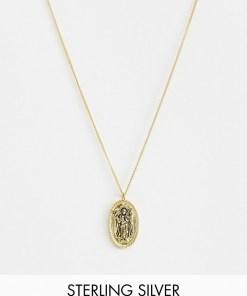 ASOS DESIGN - Vergoldete Halskette aus Sterlingsilber mit religiösem Enge-Anhänger - Gold