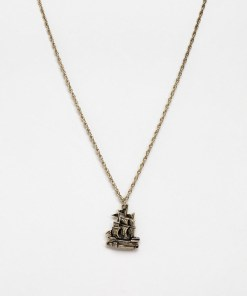 ASOS DESIGN - Goldene Halskette in polierter Optik mit Schiffdesign - Gold