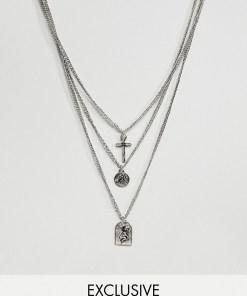 Reclaimed Vintage - Inspired - Halskette mit Anhängern in Silber