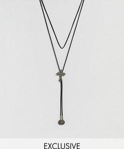 Reclaimed Vintage - Inspired - Silberne Lasso-Halskette mit Kreuzanhänger