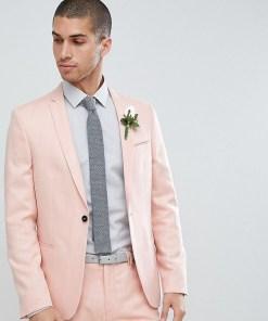 Noak - Eng geschnittene Hochzeitsanzugjacke mit Schraffurdesign - Rosa