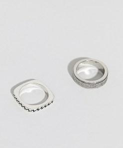 Uncommon Souls - Ring-Set mit Ketten-Design - Silber