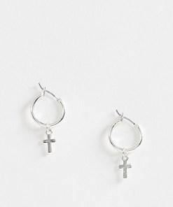 ASOS DESIGN - Silberne Creolen mit Kreuz - Silber