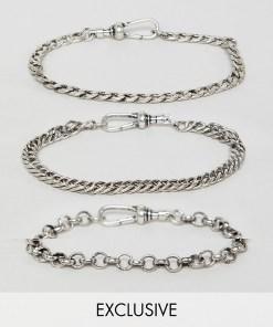 Reclaimed Vintage Inspired - Set Kettenarmbänder aus poliertem Silber