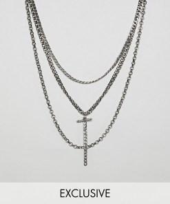 Reclaimed Vintage Inspired - Mehrreihige Halsketten in polierter Silberoptik - Exklusiv nur bei ASOS - Silber