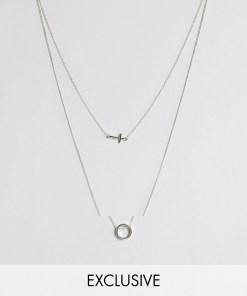 Icon Brand - Halskette mit rundem Anhänger in Altsilber