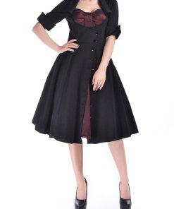 1950s Bow Dress Bordeaux