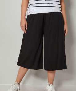 GroBe Größen Schwarze Jersey Culotte YC