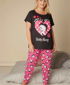 GroBe Größen Schwarzes & Pinkes Betty Boop Pyjamaset (Oberteil & YC