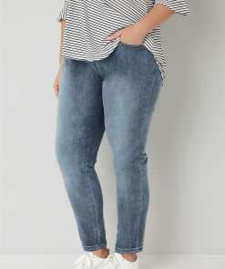 GroBe Größen Blaue Boyfriend Jeans mit Waschung BROOKLYN YC