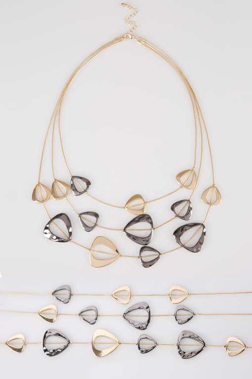 Goldfarbene Mehrlagige Halskette mit Ziersteinen YC