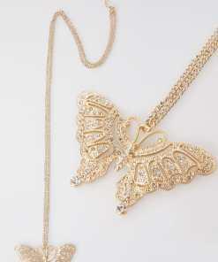 Goldene Kette mit besetztem Schmetterlingsanhänger YC