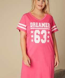 """GroBe Größen Pinkes Nachthemd mit """"Dreamer"""" Print YC"""