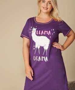 """GroBe Größen Lila Nachthemd mit """"Llama Drama"""" Print YC"""