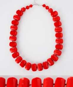 Rote klobige Perlenkette YC