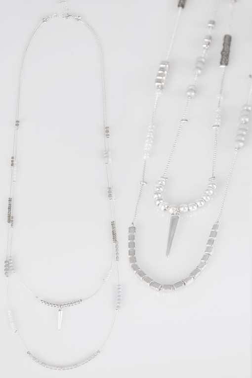 Silberne zweireihige Kette mit Perlen YC
