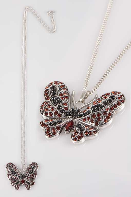Rote & Silberne Kette mit Schmetterlingsanhänger YC
