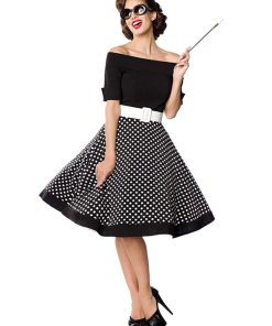 Belsira schulterfreies Dot Polka Swing-Kleid