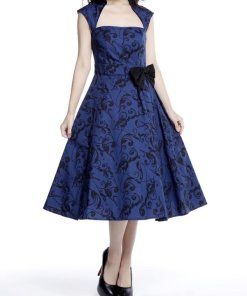 Belted Pleat Dress Blue