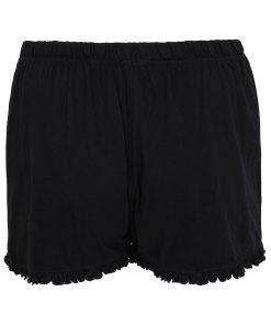 GroBe Größen Schwarze Baumwoll-Pyjamashort mit Rüschensaum YC