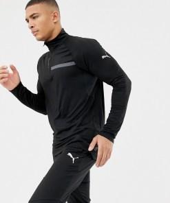 Puma - Lauf-Sweatshirt mit 1/4-Reißverschluss in Schwarz