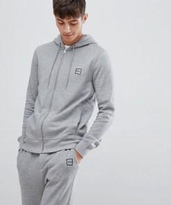 BOSS - Znacks - Grauer Kapuzenpullover mit Logo und Reißverschluss - Grau