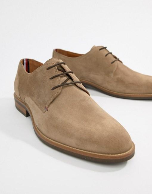 Tommy Hilfiger - Essential - Braungraue Derby-Schuhe zum Schnüren aus Wildleder - Grau