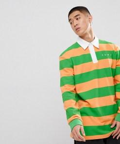 Puma - Gestreiftes Rugby-Hemd in Orange