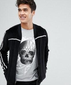Blend - Velours-Pullover mit Reißverschluss - Schwarz