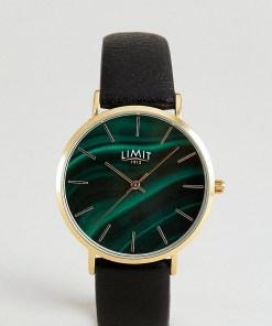 Limit - Schwarze Kunstlederarmbanduhr mit Zifferblatt in grüner Steinoptik
