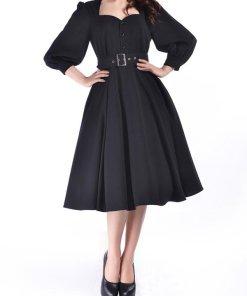 Retro Sleeved Dress Black
