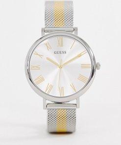 Guess - W1155L1 Lenox - Uhr mit Netzarmband aus Metall-Mix - Silber