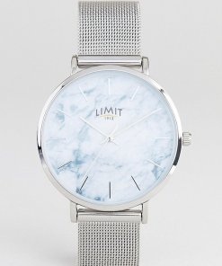 Limit - Silberne Netzarmbanduhr mit Marmor-Effekt