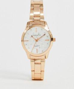 Eternity - Mit Swarovski-Schucksteinen verzierte Damen-Armbanduhr in Roségold - Rosa