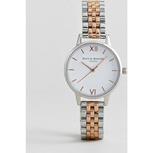 Olivia Burton - OB16MDW25 - Armbanduhr aus Metallmix mit weißem Zifferblatt - Silber