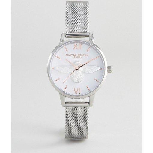 Olivia Burton - OB16AM146 3D - Netz-Armbanduhr mit Bienendesign in Silber/Roségold - Silber