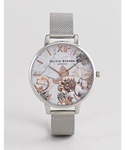 Olivia Burton - OB16CS10 - Uhr mit Marmor- und Blumenmuster und Mesh-Armband in Silber und Roségold - Silber