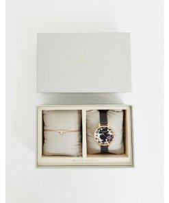 Olivia Burton - Bejewelled - Geschenkset mit Armbanduhr und Armband mit Perlendesign und 3D-Biene - Schwarz