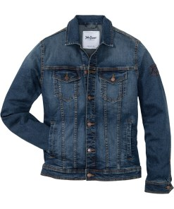 Stretch-Jeansjacke mit Badge Regular Fit