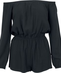 Urban Classics Ladies Short Longsleeve Overall Jumpsuit schwarz